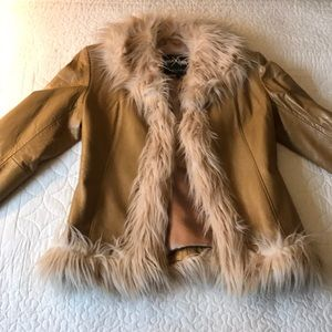 Camel colored leather jacket
